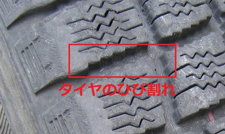 ひび割れでタイヤの保管状況とゴムの劣化を確認!